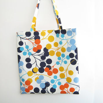 Beach tote bag, shopping bag, reusable bag, book bag, colorful bag