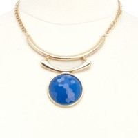 Faceted Stone & Crescent Statement Necklace