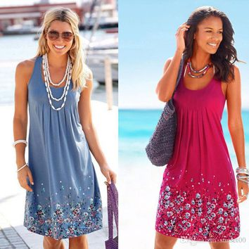 Women new arrival sleeveless floral printed loose dress multi colors vocation commuting ladies swing dress beachdress