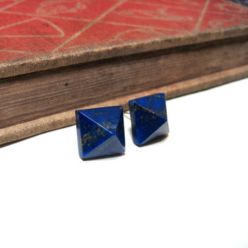 Lapis Lazuli Pyramid Post Earrings - Stud - Dark Blue - Pyrite - Fool's Gold - Cobalt - Genuine - Silver Plated - Square - Gemstone