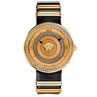 Versace Greek Icon Swiss Quartz Analog Black Leather Strap Watch