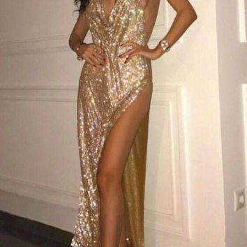 Top Robe De Soiree Silver Evening Party Gowns Maxi Women Crystal Halter Backless Long Prom Party Formal Dress