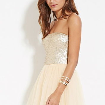 Sequin Tulle Combo Dress