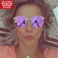 TRIUMPH VISION Fashion Retro Women Sunglasses Round Mirror High Quality Metal Eyewear Vintage Sun Glasses Female 2016 New Shades