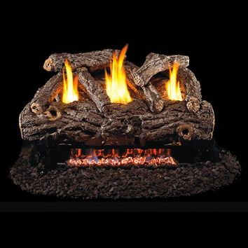 "Peterson Real Fyre Vent Free G9 Burner with 24"" Golden Oak Log Set"
