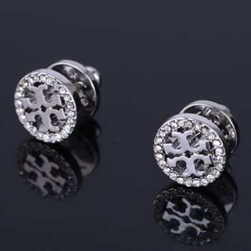Tory Burch Fashion New Diamond Round Personality Earring Accessories Women Silver