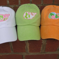 State or whale applique hats using Lilly Pulitzer fabric