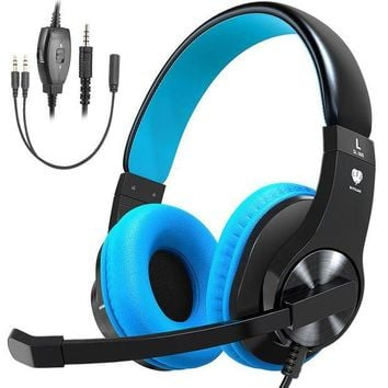 ONETOW Bovon Gaming Headset for PS4, Xbox One (Adapter Needed for old version), Lightweight Stereo Over Ear Headphones with Mic, Volume Control, Noise Isolation, 3.5mm Jack for Smart phones Laptop PC Mac
