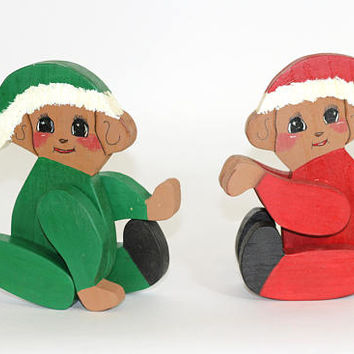 Wooden Christmas Bears with Movable Arms and Legs | Hand Crafted Bears in Santa Suits Painted Faces Red and Green | Vintage 80's | Bear Toys
