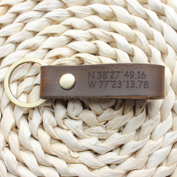 Personalized Leather Key Chain, Engraved Leather Keychain, Monogram Leather Key Chain
