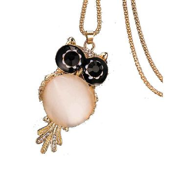 Crystal Owl Zircon Long Chain Necklace For Women
