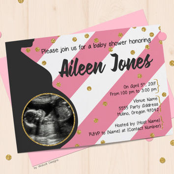 Baby shower invitations, sonogram photo, pink baby shower invitation, girl baby shower invitation, pink stripes, printable invitation