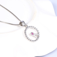 "Modern ""Clock"" craft sterling silver necklace with lab-create ruby accent"