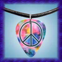 Guitar Pick Necklace Tye Dye Peace Sign Leather Jewelry
