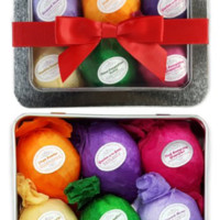 Vegan and Natural Essential Oil Bath Bombs, 6 Assorted Gift Set