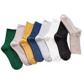 Japan Style Women Glitter Cute Socks Autumn Winter Gold Sliver Shiny Socks In Tube Casual Foot Wear christmas socks meia hip-pop
