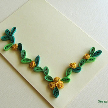 Pastel Quilling Card with Quilled Roses With Gold Brocade