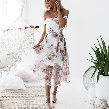 Floral Printed Long Maxi Dress Off Shoulder Dresses Women Summer Cheap Clothes Casual