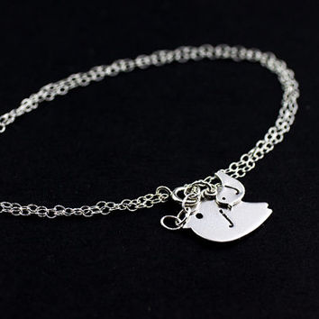 Personalized Bracelet .Sterling Silver Initial Bracelet . Mom Birds one Baby Bird Charm Bracelet .