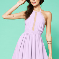 Halter Neck Lace Embroidered Pleated Backless Mini Skater