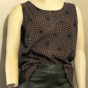 Vtg Produce Company MOD OP ART Tank Blouse / Black and Brown Psychedelic Geometric Graphic Print / Unique Circles and Checkers Pattern Top