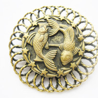 Vintage Pisces Fish Zodiac Brass Brooch Pin Astrology Jewelry February March Birthday
