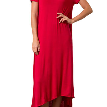 Short Sleeve High-Low Maxi Dress with Pockets