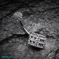 Ice Dice Tiffany Inspired Belly Button Ring