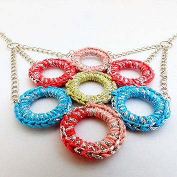 geometric circle necklace / pink blue beige silver / bib necklace / ombre necklace