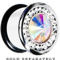 "7/16"" Clear Aurora CZ Stainless Steel Tunnel Plug 