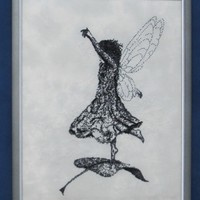 Fantasy Fairy Picture - Cross Stitch Black and White Fairytale Whimsical Embroidery