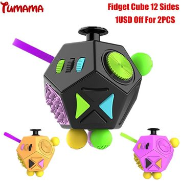 Tumama Fidget Cube 2017 New 12 Sides Antistress Spinner Anxiety Reliever Stress Relief Finger Busy Toy Fidget Cube 2 Desk Toys