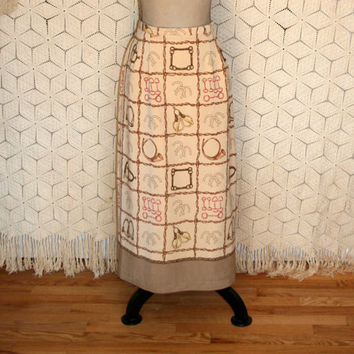 80s Long Pencil Skirt Western Theme Novelty Print Skirt Womens Western Clothing Horse Stirrup Print Size 12 Size 14 Large Womens Clothing