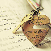 """He who holds the key can unlock my heart"" Pendant Necklaces (Set of 2)"