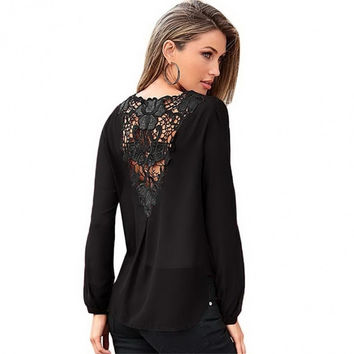 Women Fashion Sexy V Neck Long Sleeve Hollow Lace Patchwork Drape Front Irregular Hem Chiffon Blouse