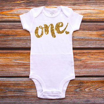 First Birthday Shirt, Baby Girl Birthday Party, Cake Smash Outfit, 1st Birthday Shirt, Gold One Shirt, Girl First Birthday #24