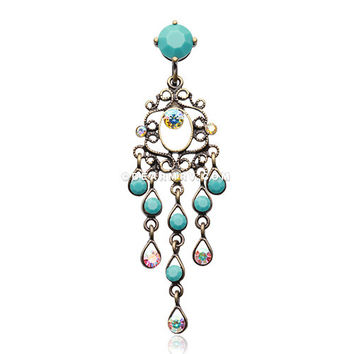 Vintage Boho Chandelier Reverse Belly Button Ring (Brass/Aurora Borealis/Turquoise)