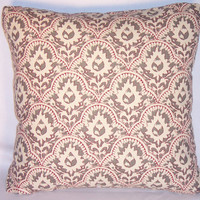 "Grey Ethnic Floral Throw Pillow Cotton Hand Print Red Ivory 17"" Square Insert Included Ready Ship"