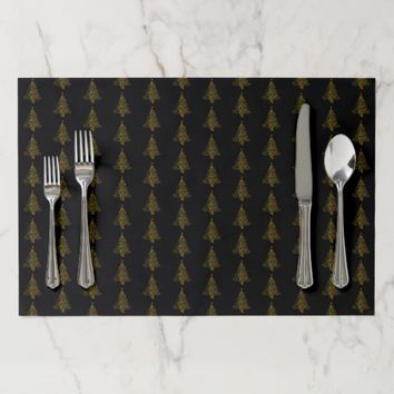 Merry Christmas Tree Pattern Black Gold Elegant Placemat