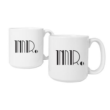 Mr. & Mr. Gatsby 20 oz. Large Coffee Mugs (Set of 2)