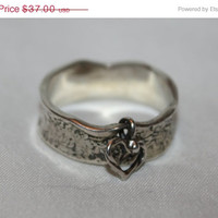 Easter Sale Sterling Ring Heart Charm Thumb   Vintage 1980s  Jewelry