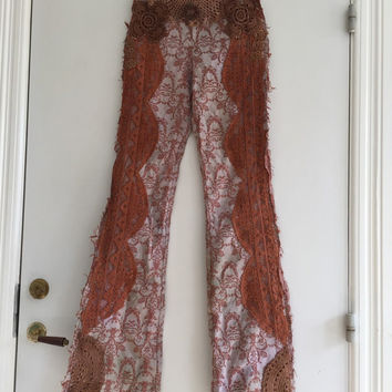 Burnt orange hippie pants,Gypsy pants , Elven pants  handmade , unique , elastic brocade pants, christmas present ,boho couture