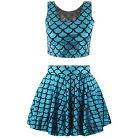 Fish Scale Print Crop Top Mini Skirt Matching Sets