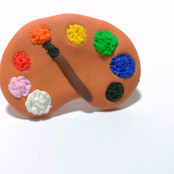 palette ring, polymer clay,adjustable ring,paint palette, artist's palette, artistic, fun, retro