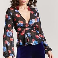 Sheer Open-Back Floral Top