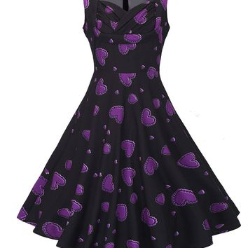 Casual Sweet Heart Pleated Bodice Heart Printed Skater Dress