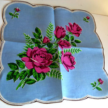 Blue Handkerchief BORROWED Pink ROSES Large Blue LOVELY Vintage 1950's Scalloped Floral Women's Hankie Accessory Wedding Bridal Dollhouse