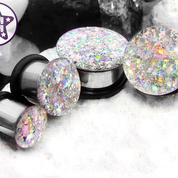 "Silver Machine Holographic Glitter Plug / Gauge Silver Rainbow Prom / Wedding ONE Plug Only 3/4"", 7/8"", 1"" / 19mm, 20mm, 22mm, 24mm, 25mm"