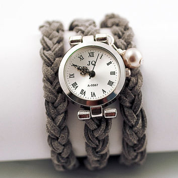 Tender Suede Wrap Watch CUSTOMIZED to your size - braided grey suede and silver wrist watch with vintage wrapped pearl.