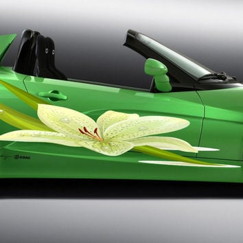 Lily flower colored Side Vinyl Full color Car vinyl graphics car Lily gc475